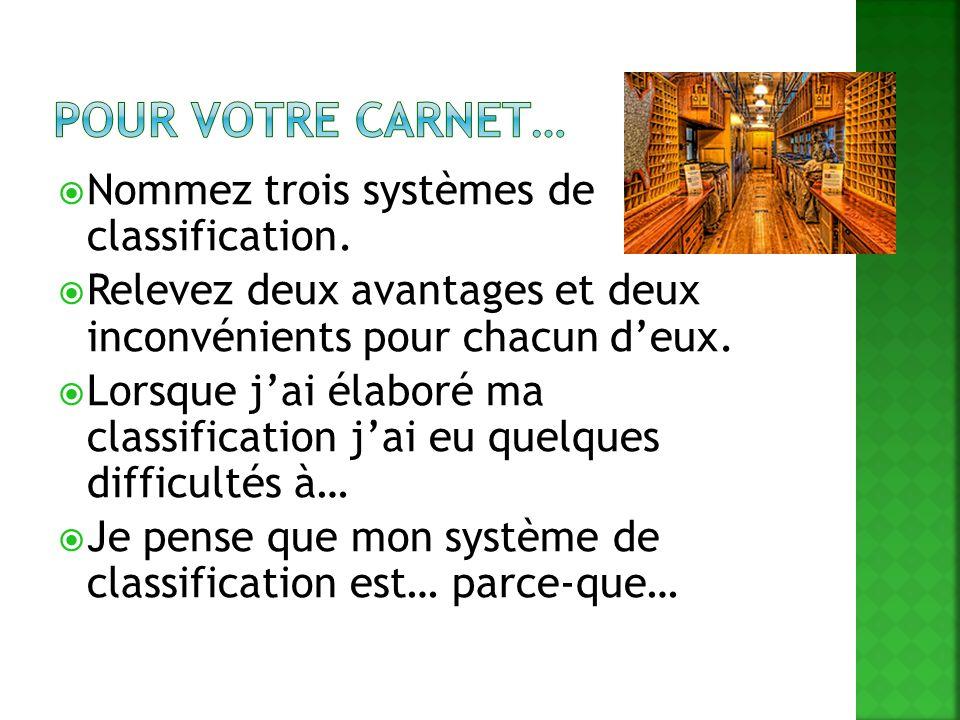 Pour votre carnet… Nommez trois systèmes de classification.