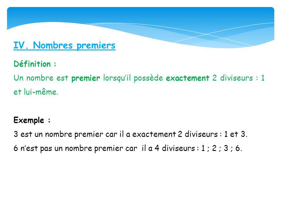 IV. Nombres premiers Définition :