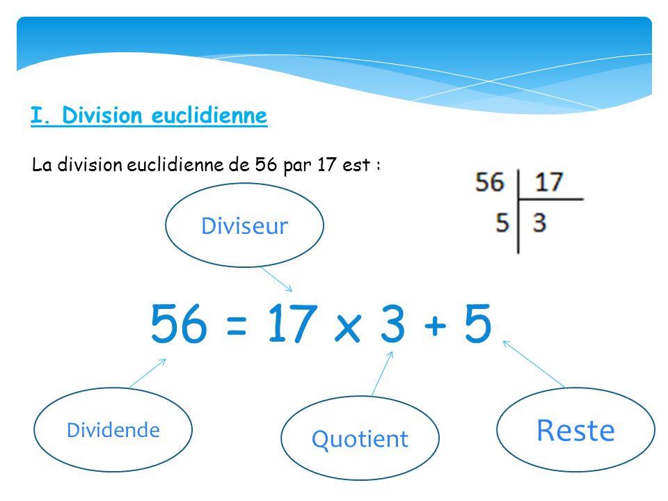 56 = 17 x 3 + 5 Reste Diviseur Quotient I. Division euclidienne