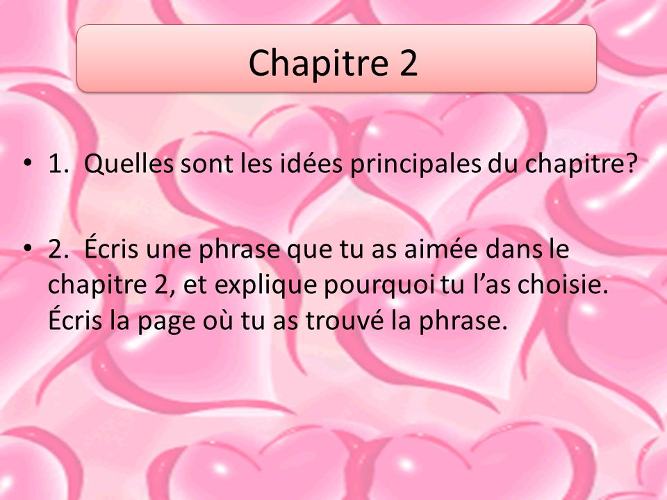 Chapitre 2 1. Quelles sont les idées principales du chapitre