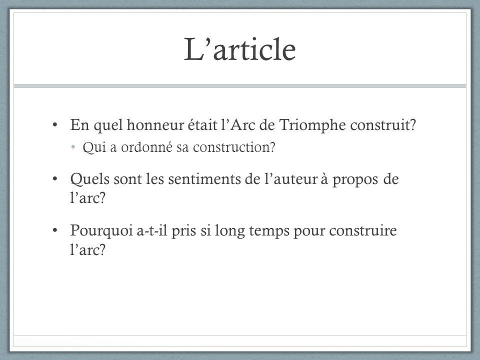 L'article En quel honneur était l'Arc de Triomphe construit
