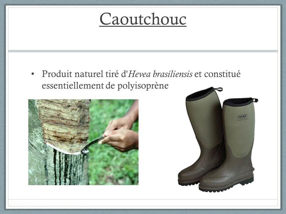 Caoutchouc Produit naturel tiré d Hevea brasiliensis et constitué essentiellement de polyisoprène