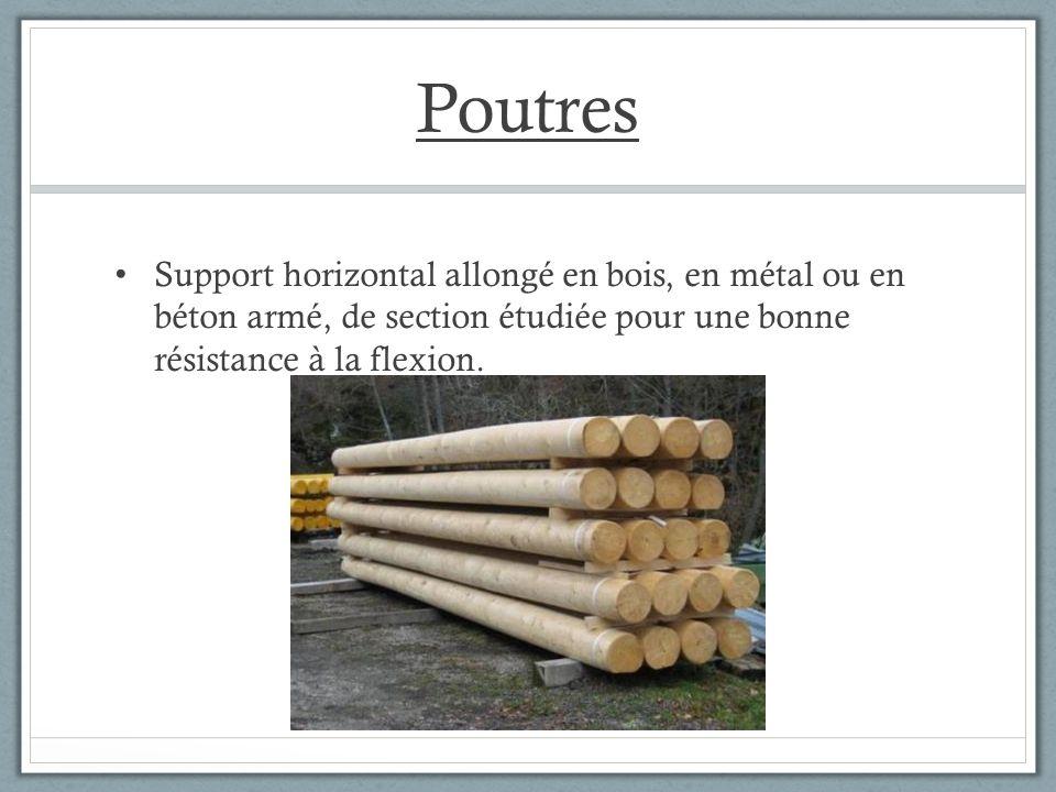 Poutres Support horizontal allongé en bois, en métal ou en béton armé, de section étudiée pour une bonne résistance à la flexion.