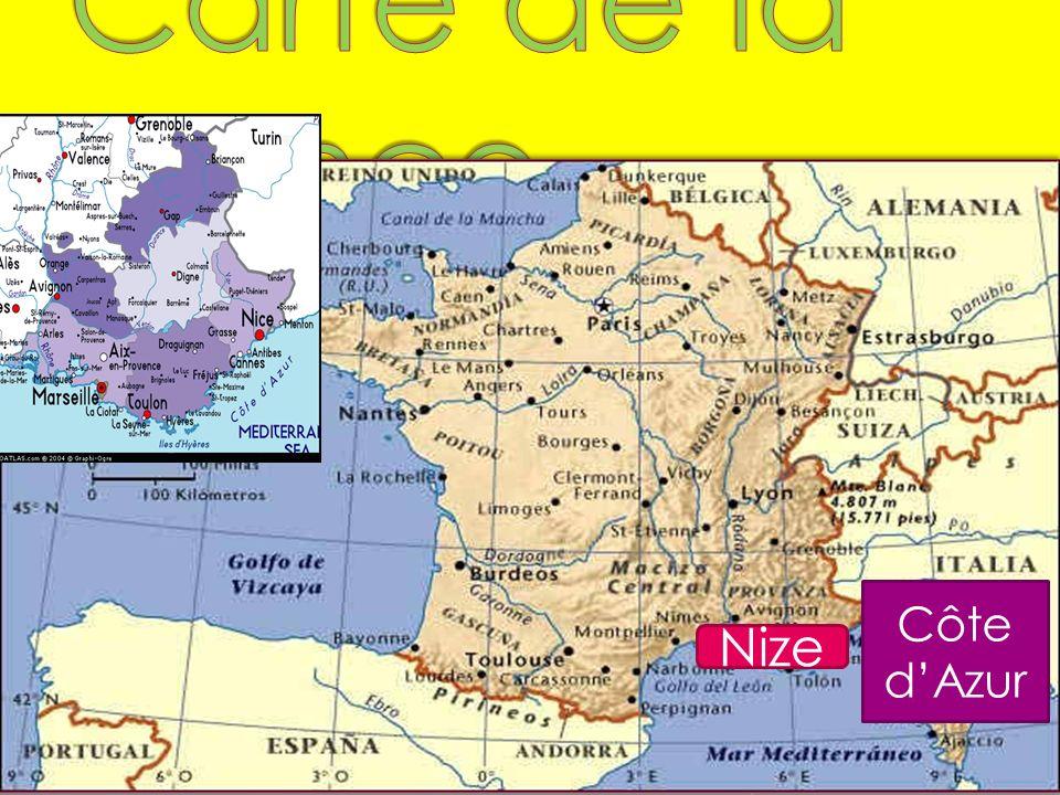 Carte de la France Côte d'Azur Nize