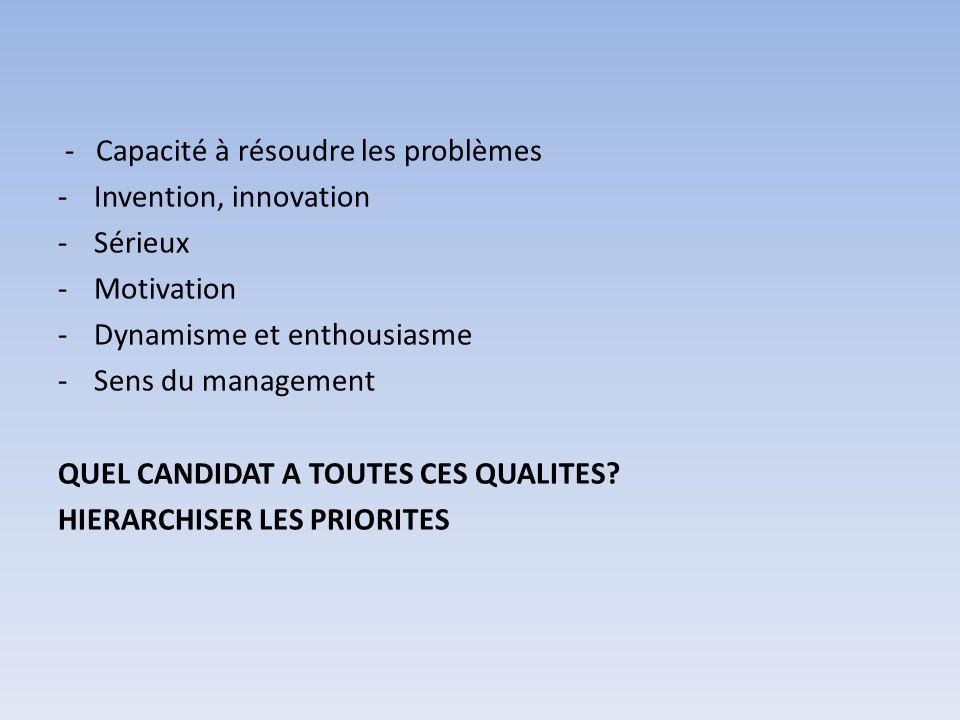 - Capacité à résoudre les problèmes