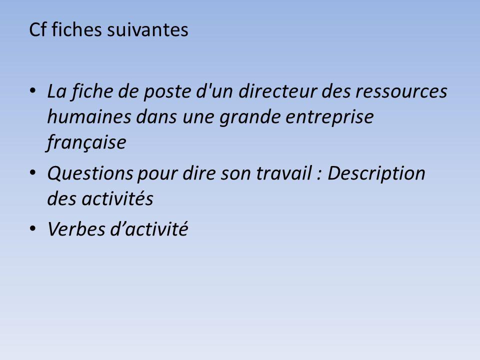 Cf fiches suivantes La fiche de poste d un directeur des ressources humaines dans une grande entreprise française.
