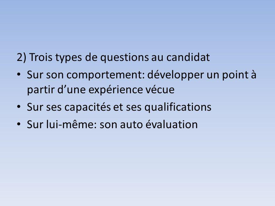 2) Trois types de questions au candidat