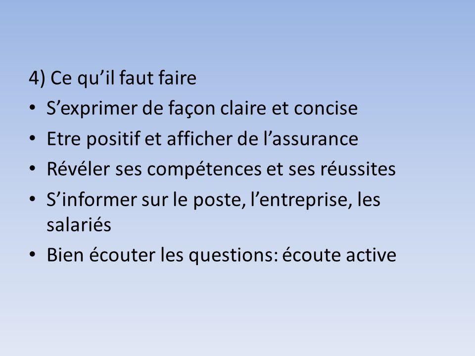 4) Ce qu'il faut faire S'exprimer de façon claire et concise. Etre positif et afficher de l'assurance.