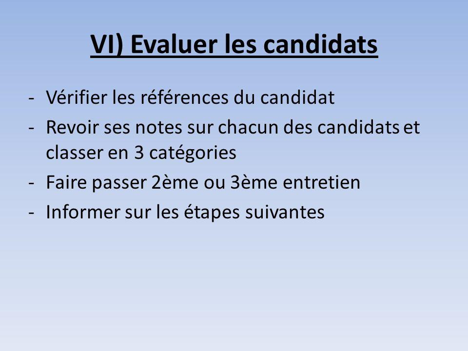 VI) Evaluer les candidats