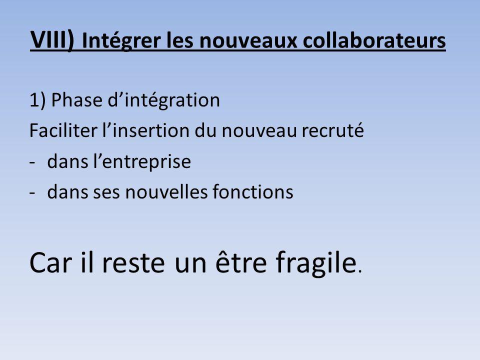 VIII) Intégrer les nouveaux collaborateurs