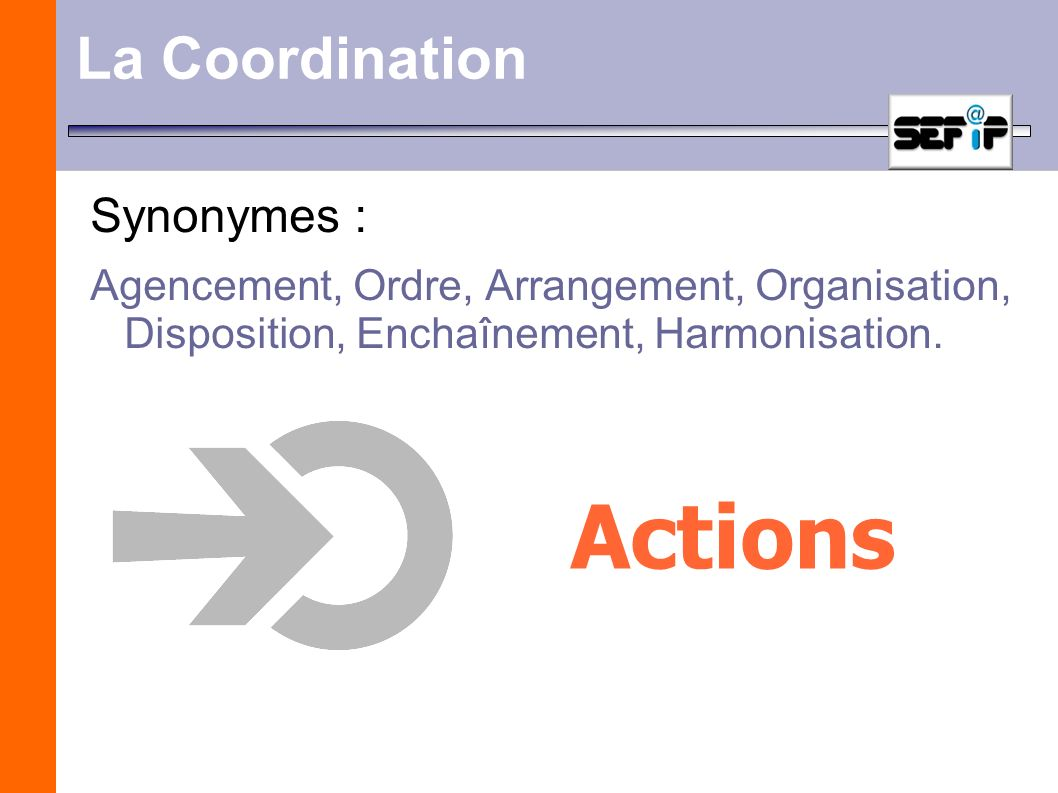Actions La Coordination Synonymes :