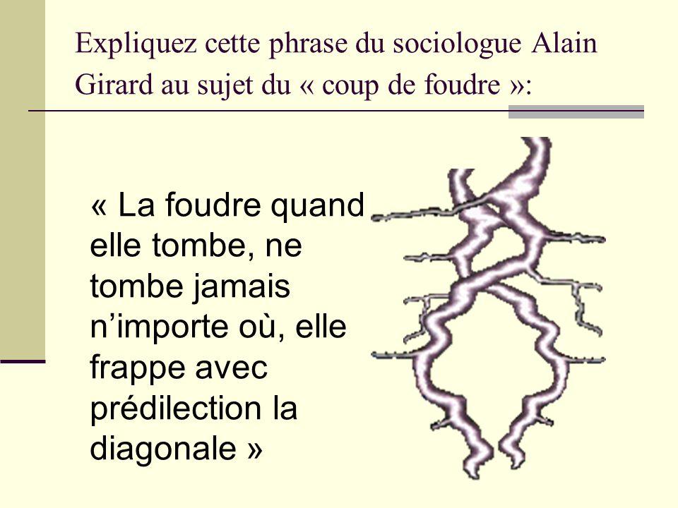 Expliquez cette phrase du sociologue Alain Girard au sujet du « coup de foudre »: