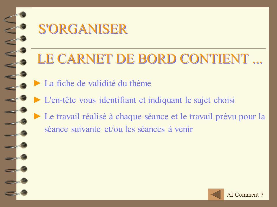 LE CARNET DE BORD CONTIENT ...