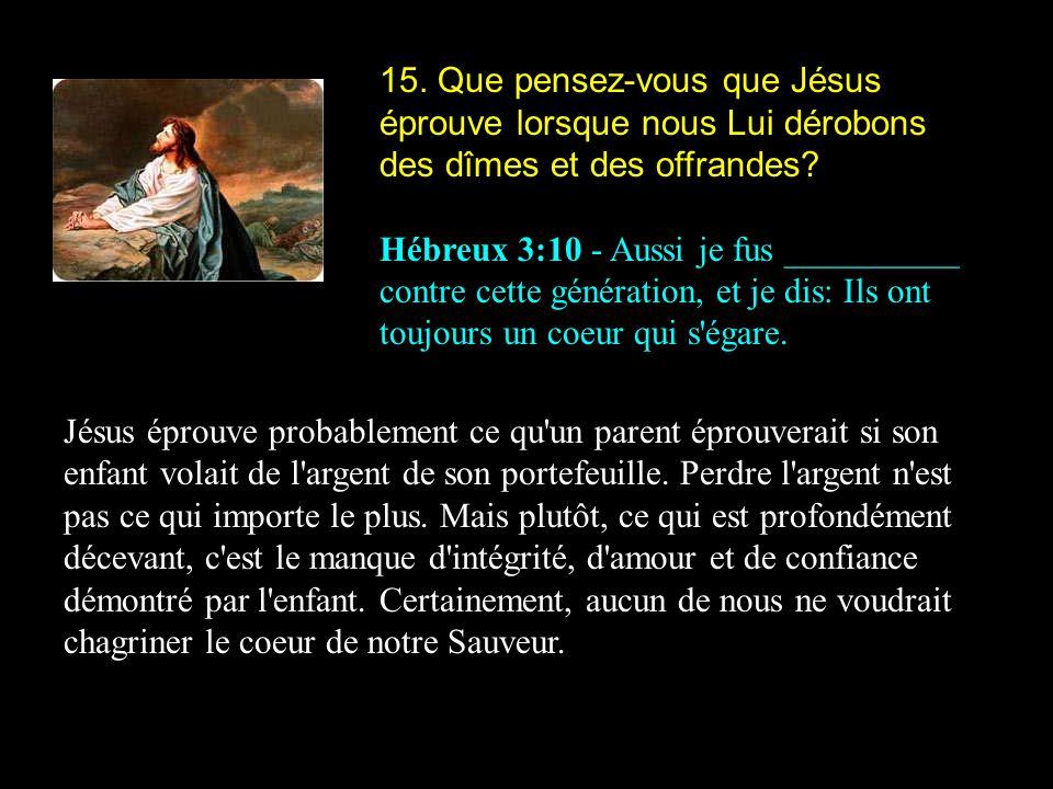 15. Que pensez-vous que Jésus éprouve lorsque nous Lui dérobons des dîmes et des offrandes