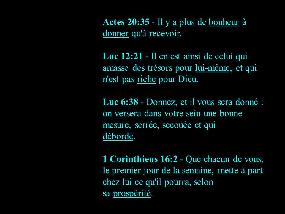 Actes 20:35 - Il y a plus de bonheur à donner qu à recevoir.