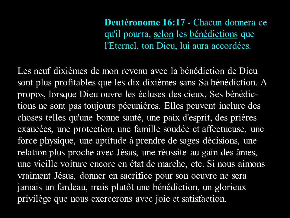 Deutéronome 16:17 - Chacun donnera ce qu il pourra, selon les bénédictions que l Eternel, ton Dieu, lui aura accordées.