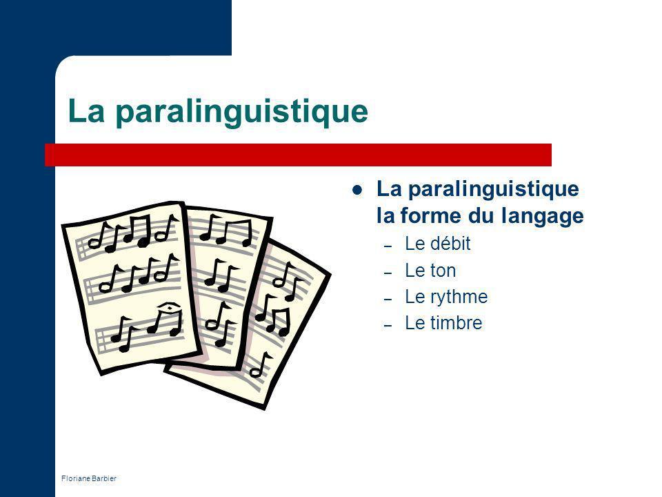 La paralinguistique La paralinguistique la forme du langage Le débit