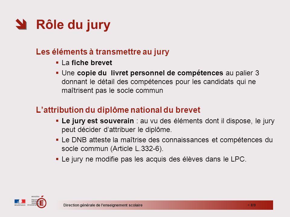 Rôle du jury Les éléments à transmettre au jury
