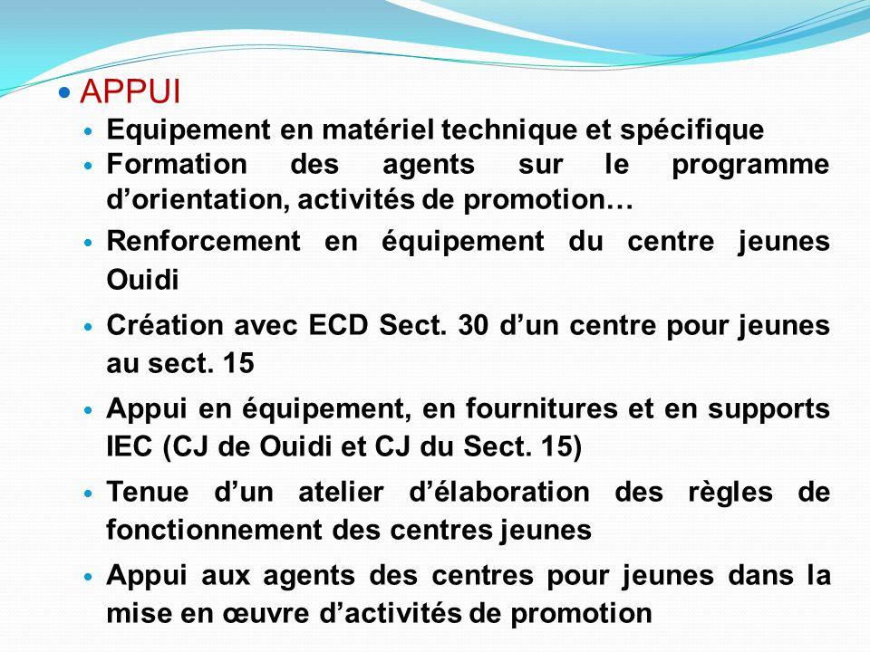 APPUI Equipement en matériel technique et spécifique