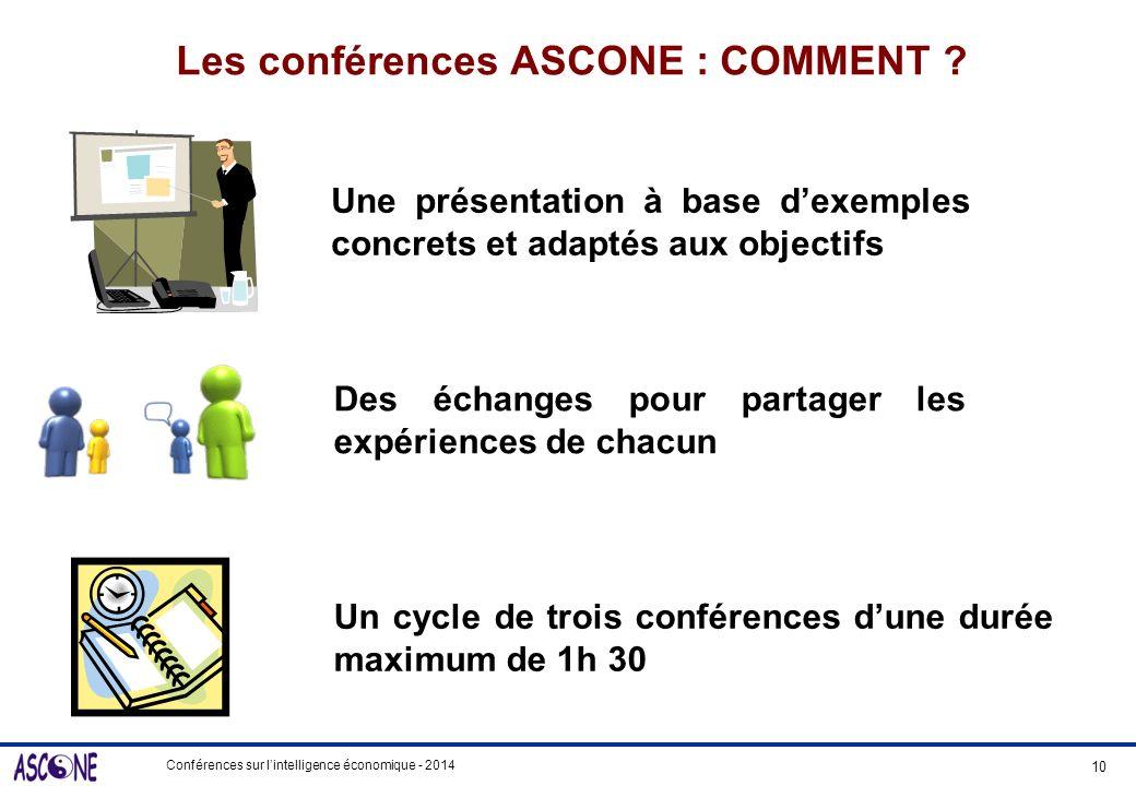 Les conférences ASCONE : COMMENT