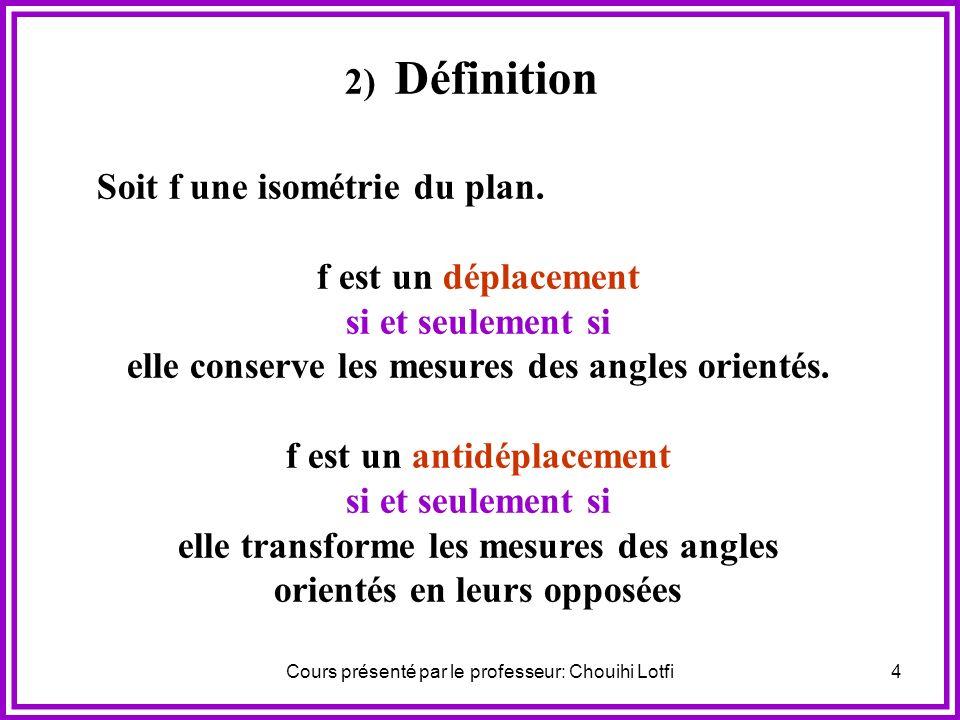 Soit f une isométrie du plan. f est un déplacement si et seulement si