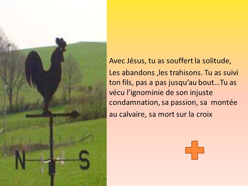 Avec Jésus, tu as souffert la solitude,