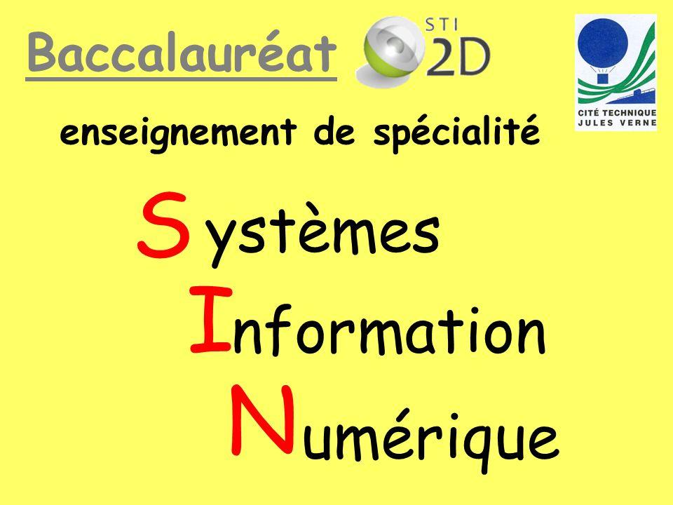 S I N ystèmes nformation umérique Baccalauréat