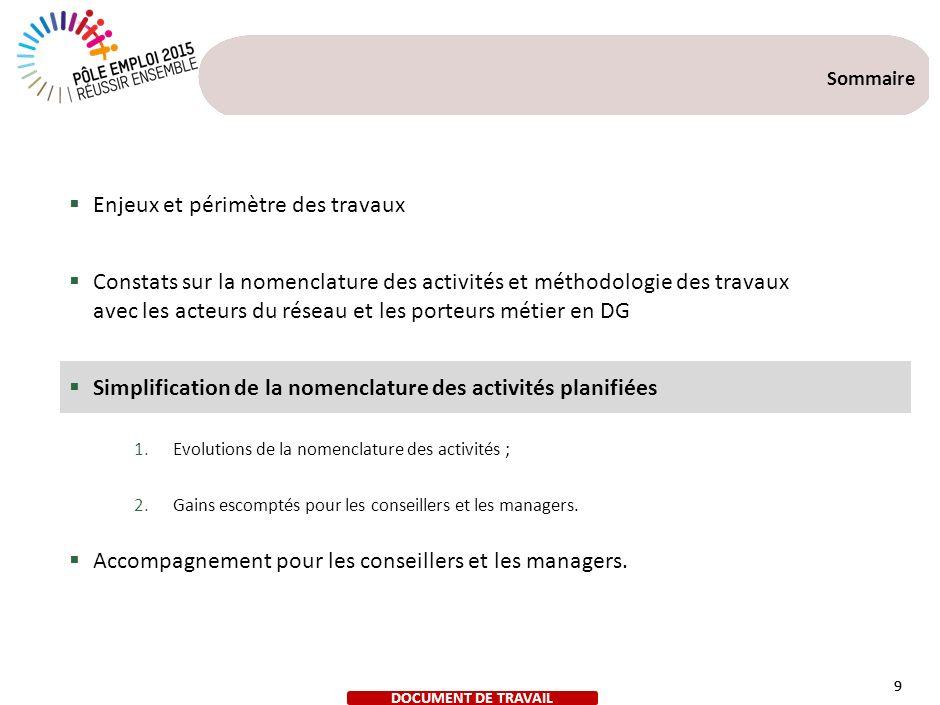 La nouvelle nomenclature proposée a évolué suite au groupe de travail du 12 juin 2013