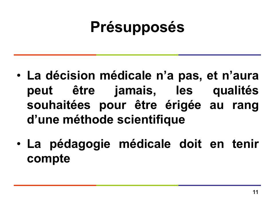 Présupposés La décision médicale n'a pas, et n'aura peut être jamais, les qualités souhaitées pour être érigée au rang d'une méthode scientifique.