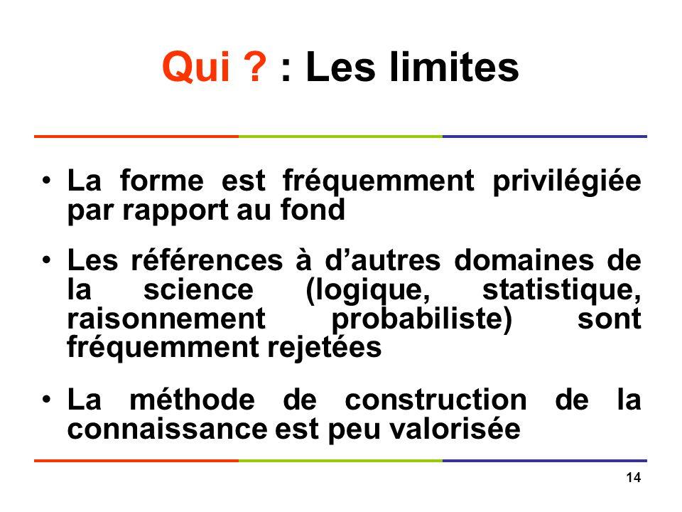 Qui : Les limites La forme est fréquemment privilégiée par rapport au fond.