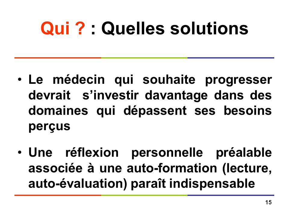 Qui : Quelles solutions