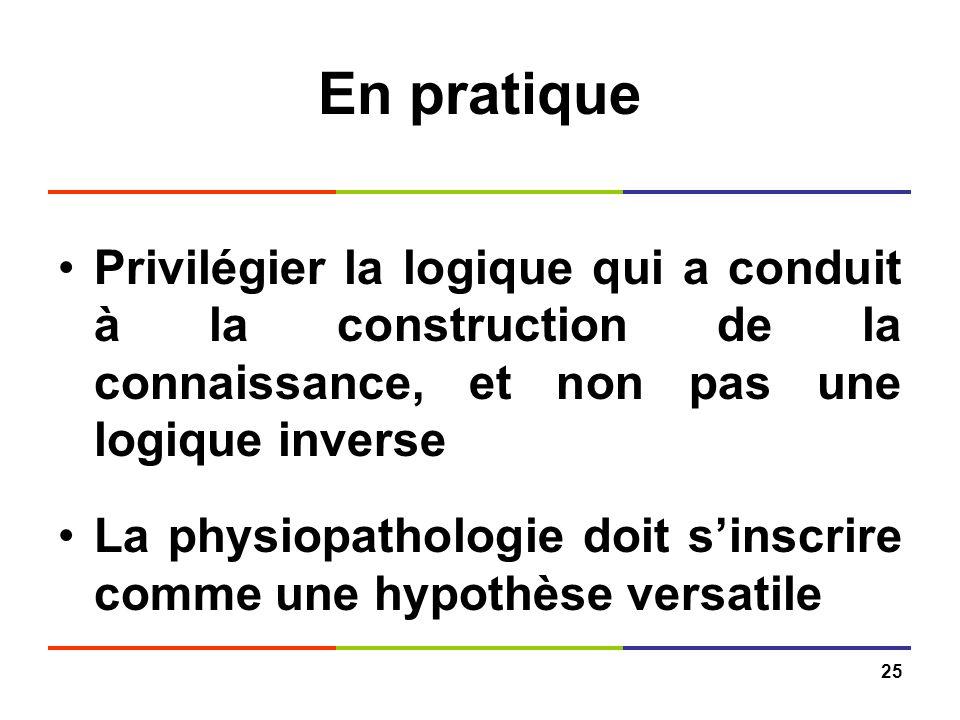 En pratique Privilégier la logique qui a conduit à la construction de la connaissance, et non pas une logique inverse.