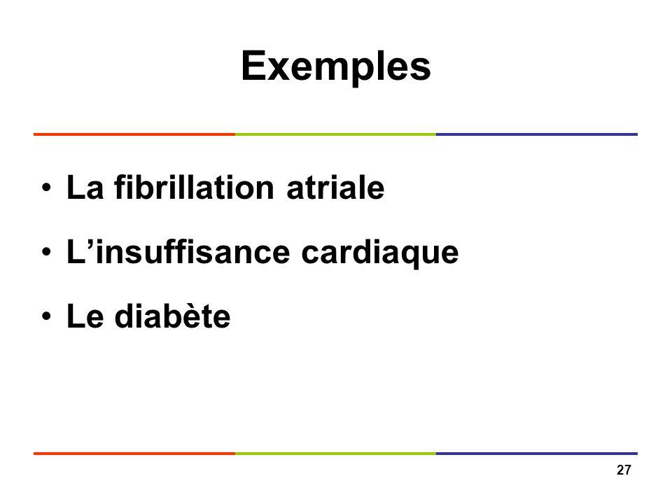 Exemples La fibrillation atriale L'insuffisance cardiaque Le diabète