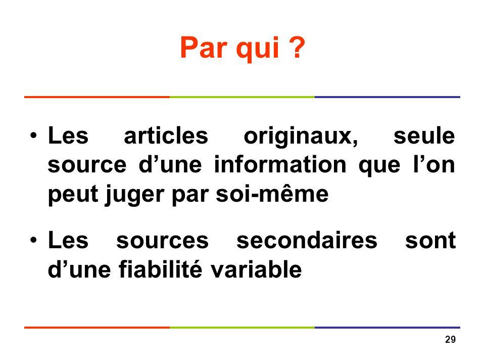 Par qui Les articles originaux, seule source d'une information que l'on peut juger par soi-même.