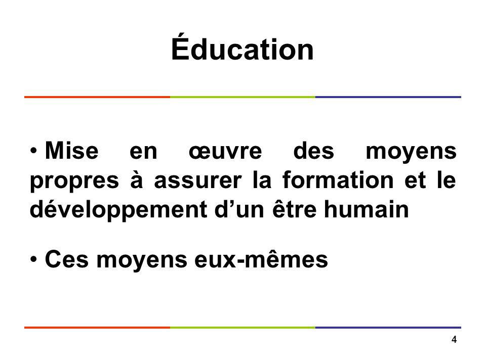 Éducation Mise en œuvre des moyens propres à assurer la formation et le développement d'un être humain.