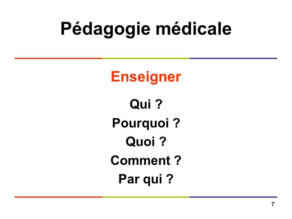 Pédagogie médicale Enseigner Qui Pourquoi Quoi Comment
