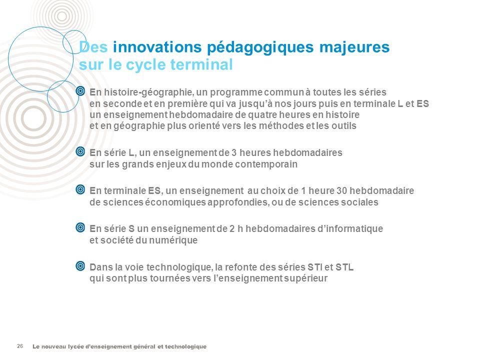 Des innovations pédagogiques majeures sur le cycle terminal