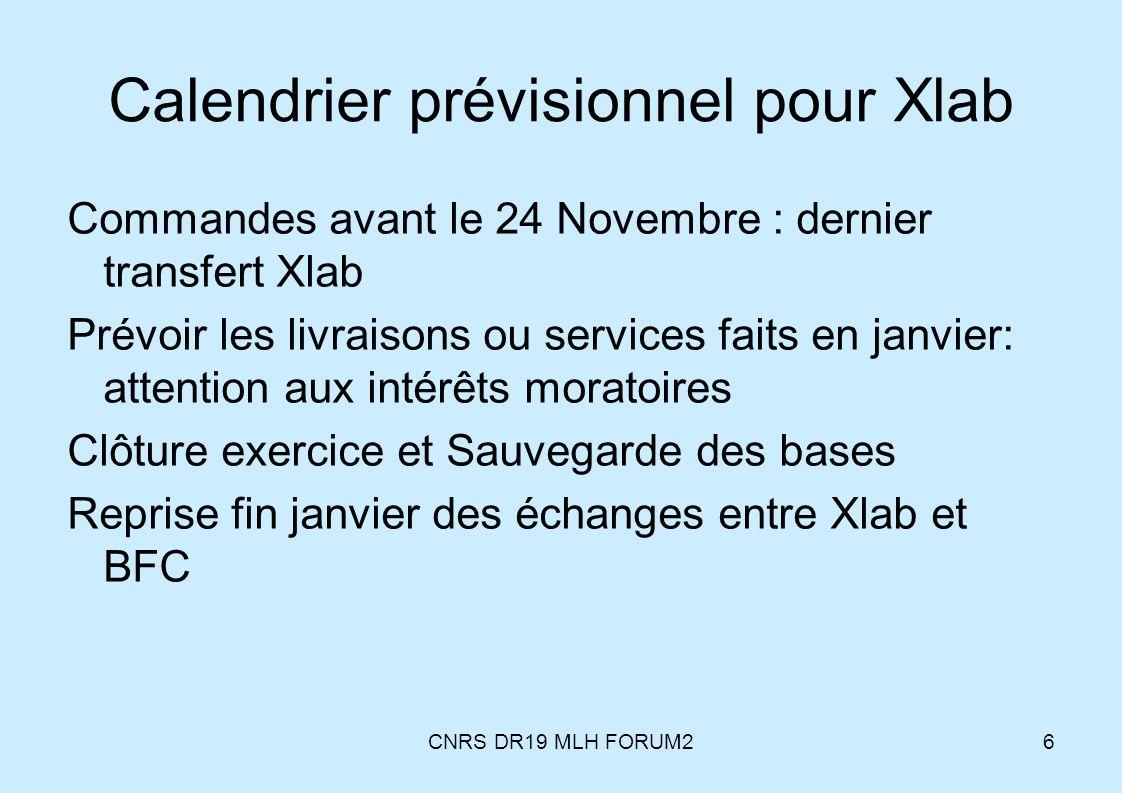 Calendrier prévisionnel pour Xlab