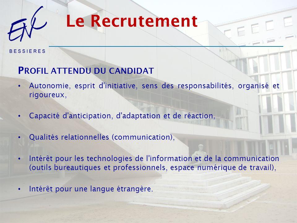 Le Recrutement Profil attendu du candidat