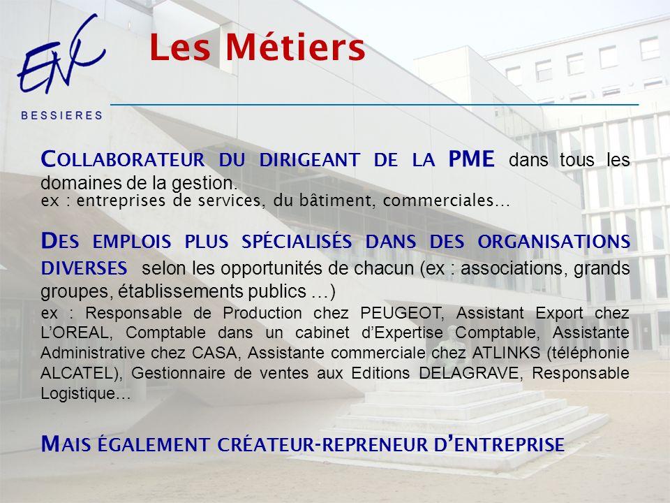 Les Métiers Collaborateur du dirigeant de la PME dans tous les domaines de la gestion. ex : entreprises de services, du bâtiment, commerciales…