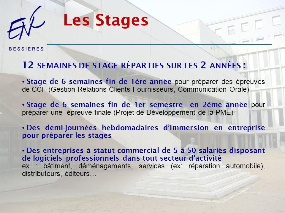 Les Stages 12 semaines de stage réparties sur les 2 années :