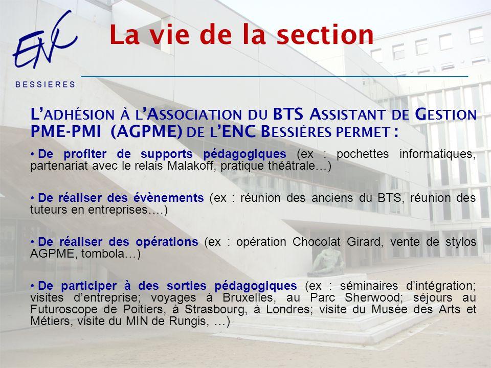 La vie de la section L'adhésion à l'Association du BTS Assistant de Gestion PME-PMI (AGPME) de l'ENC Bessières permet :