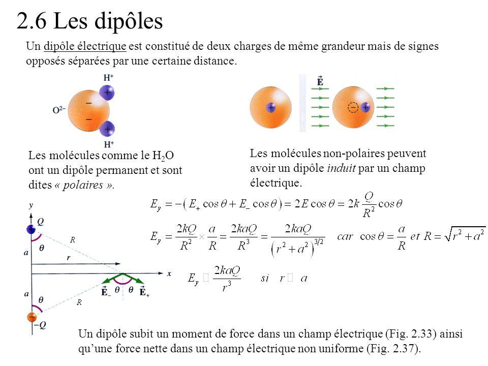 2.6 Les dipôles Un dipôle électrique est constitué de deux charges de même grandeur mais de signes opposés séparées par une certaine distance.