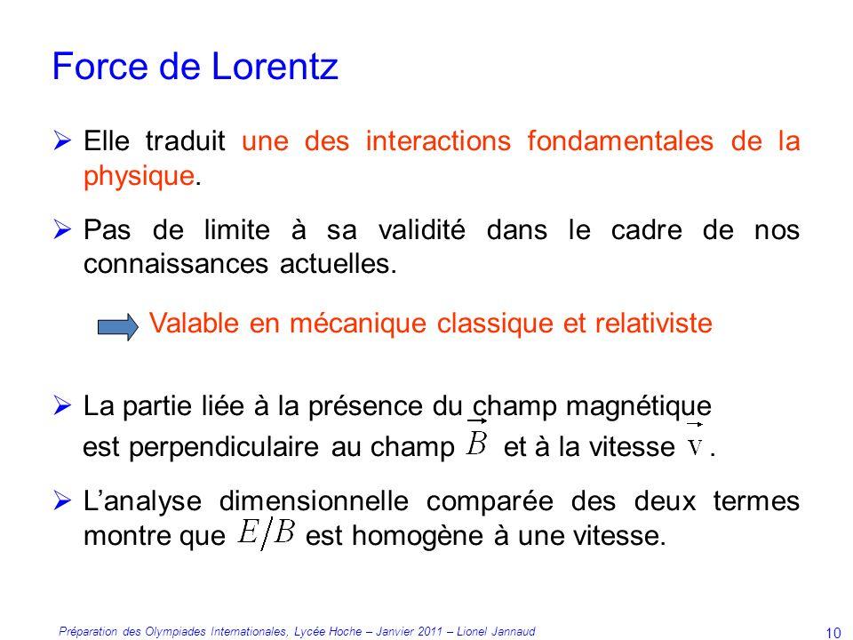Force de Lorentz Valable en mécanique classique et relativiste