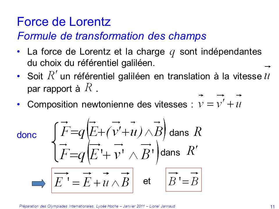 Force de Lorentz Formule de transformation des champs