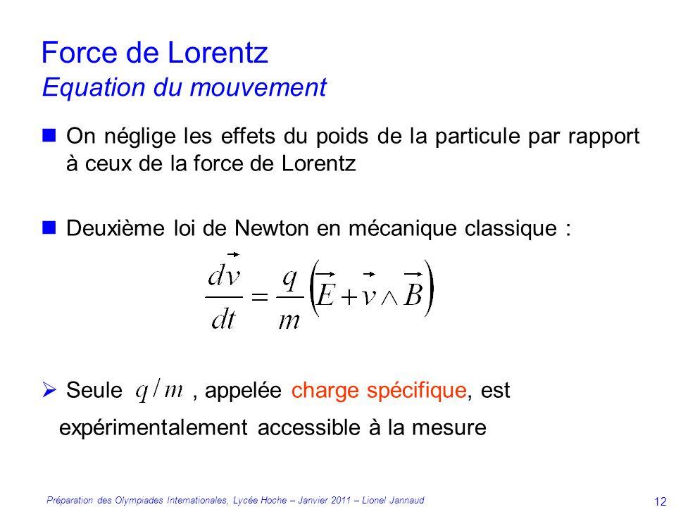 Force de Lorentz Equation du mouvement