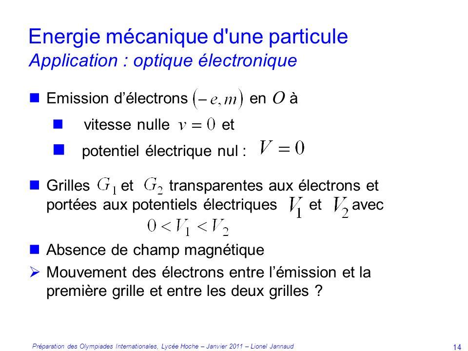 Energie mécanique d une particule