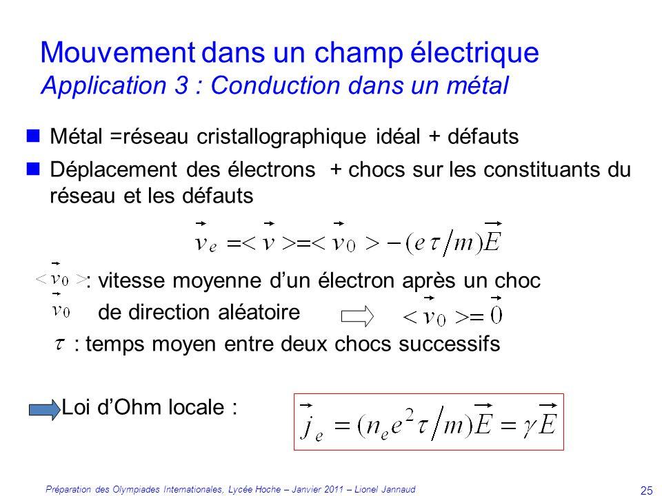 Mouvement dans un champ électrique