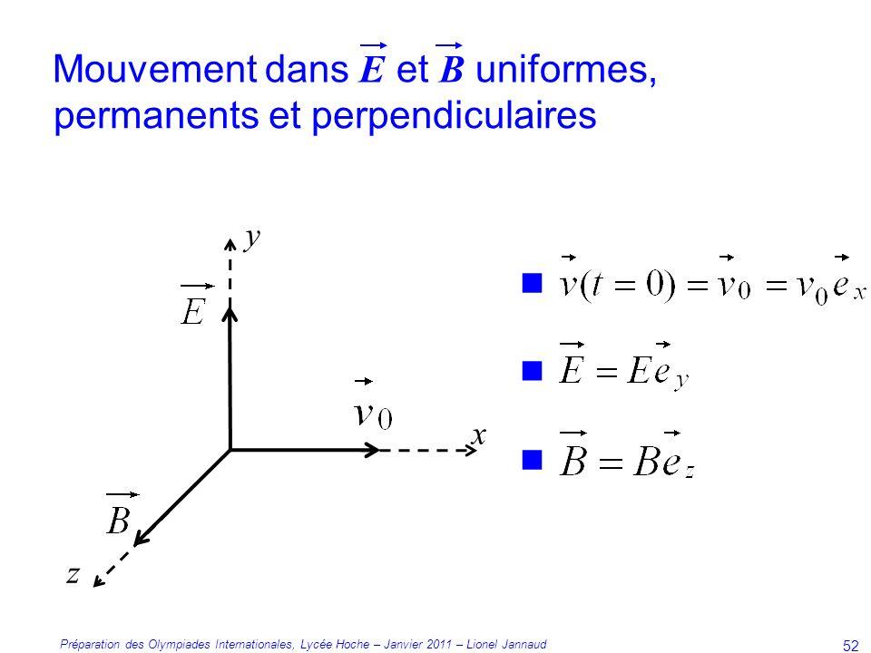 Mouvement dans E et B uniformes, permanents et perpendiculaires