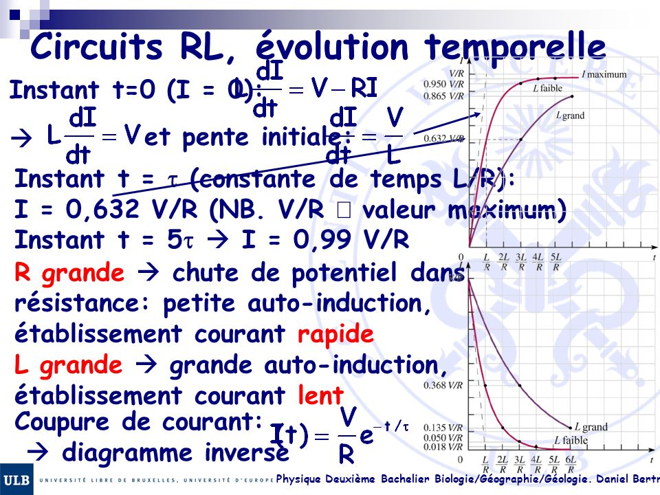 Circuits RL, évolution temporelle